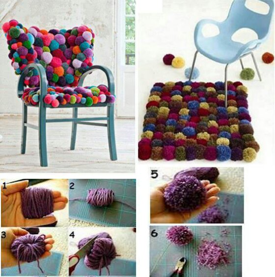 Eu amo costurar tutorial cadeira e tapete de pompom for Home design ideas facebook