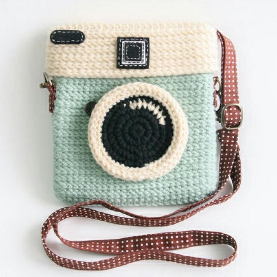 Inspiração – Bolsa de crochê de máquina fotográfica