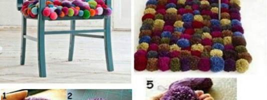 Tutorial – Cadeira e tapete de pompom