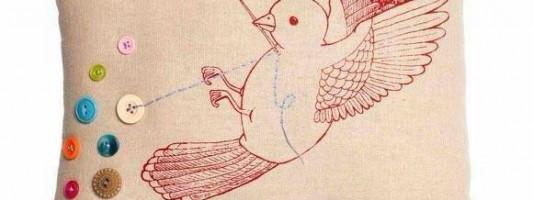 Inspiração – Almofada do pássaro costureiro