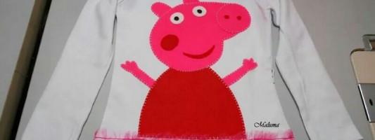 Inspiração – Camiseta da Peppa Pig com aplique em feltro