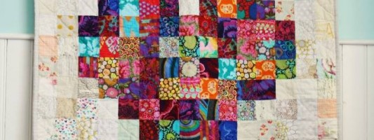 Inspiração – Panô de patchwork com coração